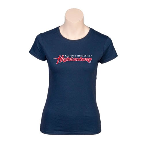 Radford Next Level Ladies SoftStyle Junior Fitted Navy Tee 'Radford University Highlanders'