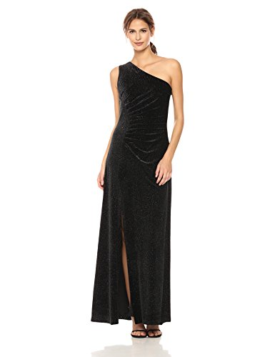 Calvin Klein Women's One Shoulder Long Velvet Dress, Black/Silver, (Black Velvet Long Dress)