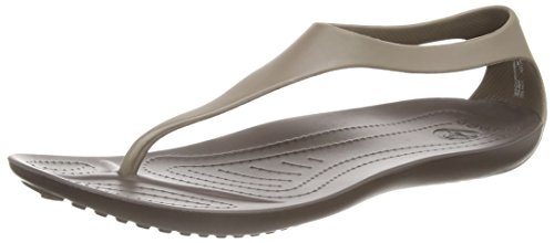 crocs Women's Sexi Flip Sandal, Espresso/Espresso,9 - Wet Look Buckle Black New