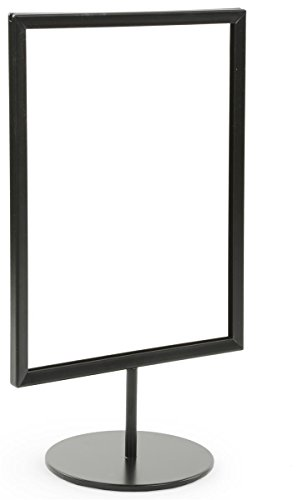 Displays2go 8.5 x 11 Inches Pedestal Sign Frames for Countertop Use, Top-Loading for 1/8-inch Poster Board, Steel Black, Set of 10 (RD8511BKMS)