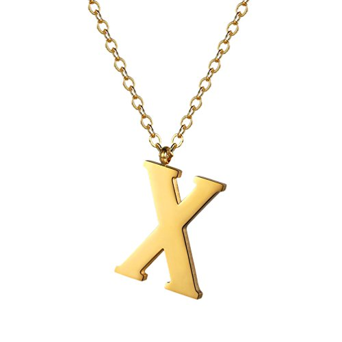 PROSTEEL Gold Initial Letter X Necklace Alphabet Name Jewelry Boy Girl Women Personalized Friend Gift 18K Plated Minimalist Letter Pendant Men's Necklaces (Boy Girl Best Friend Jewelry)