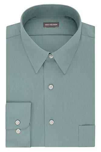Van Heusen Men's Dress Shirt Fitted Poplin Solid, Ocean Mist, 16