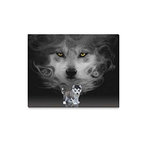 ENEVOTX Wall Art Painting D Diamond Husky Puppy Mirror Wolf Prints On Canvas The Picture Landscape Pictures Oil for Home Modern Decoration Print Decor for Living Room