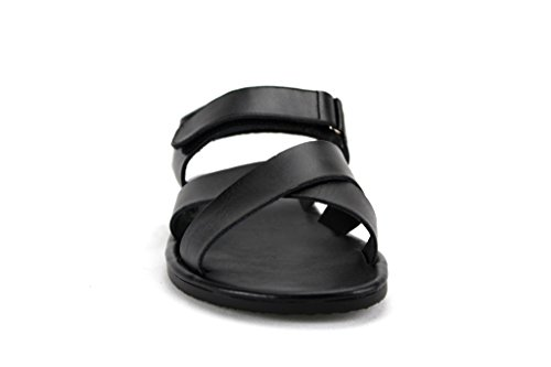 Scandro Mens 52632 Roman Gladiator Leather Strap Sandals Shoes Black jl54cBKAS