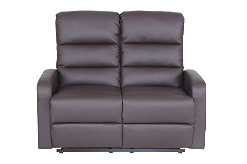 VIVA HOME Faux Leather PU Leather Ergonomic Recliner loveseat (2 Seater), Brown