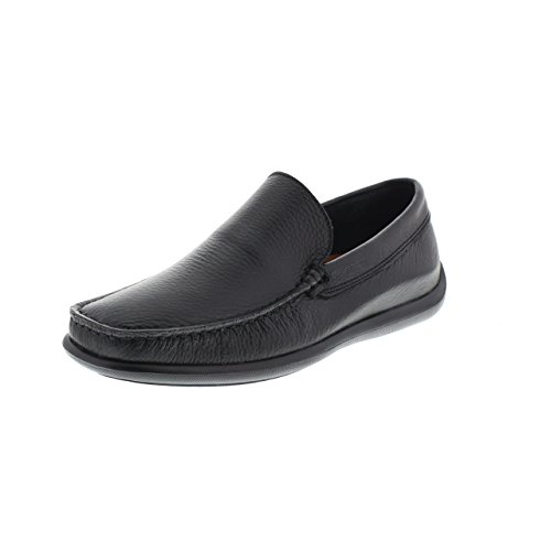 FRAU 14N4 hombre negro zapatos mocasines de cuero Nero
