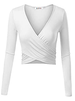Kira Women's Deep V Neck Long Sleeve Unique Cross Wrap Slim Fit Crop Tops(xs,white) 0