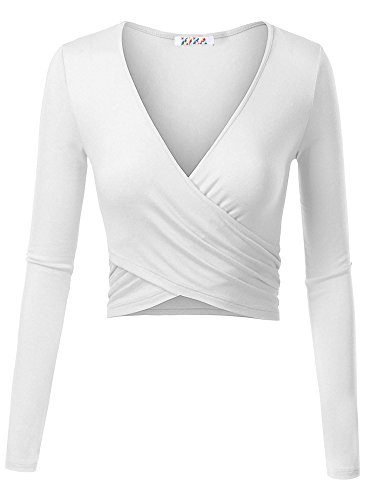 KIRA Women's Deep V Neck Long Sleeve Unique Cross Wrap Slim Fit Crop Tops(XS,White)