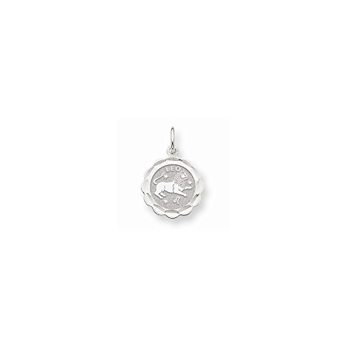 Scalloped Disc Charm - 14k White Gold Satin Polished Engravable Leo Zodiac Scalloped Disc Charm