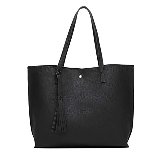 Women Girls Tassels Leather Tote Shoulder Bags Satchel Handbags Large Laptop Purses (Black) -