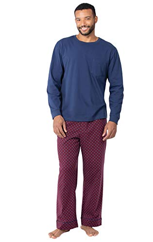 PajamaGram Pajamas for Men Cotton - Mens Pajama Sets, Burgundy, MD