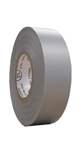 (TradeGear Single Roll Gray Electrical Tape Matte, Colored Durable Adhesive, Waterproof PVC, Rubber Resin, UL Listed, 60' x ¾