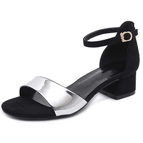 Talon Femmes Sandales Un Dames Bouton Talons Bout Ouvert Chaussures Pour Silver Neufs La Moyen Mode Hauts À wSEAxPqHX
