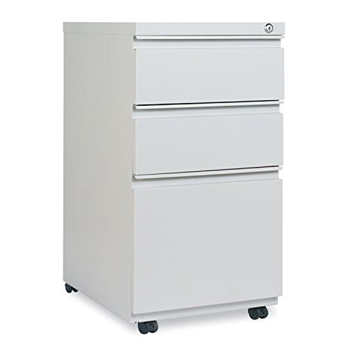 Alera ALEPBBBFLG Three-Drawer Pedestal File With Full-Length Pull, 14 7/8 x 19 1/8, Light Gray (Mobile File Cabinet Light)