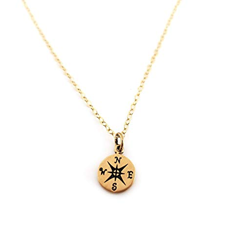 Compass Charm- Dainty 14k Gold Filled Necklace