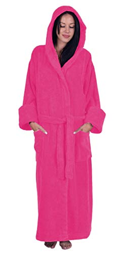 Turquoise Textile Terry Hooded Unisex Robe, 100% Turkish Natural Soft Cotton, Made in Turkey, Hot Pink