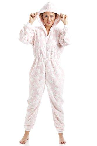 Camille - Pijama de una pieza con capucha - Forro polar supersuave - Estampado de ositos - Rosa Rosa