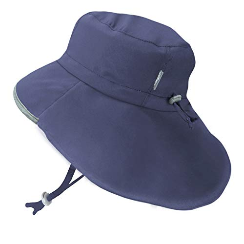 Boys Breathable Sun-Hats 50+ SPF Protection Wide-Brim Light-Weight (XL: 5-12Y, Navy)