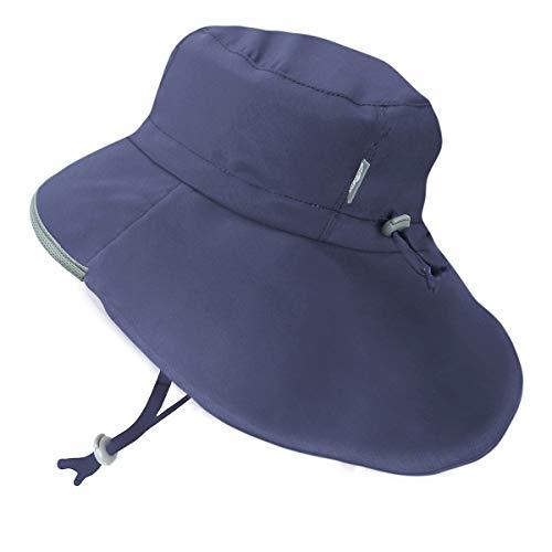 Baby Boy Sun-Hat 50+ UPF, Neck-Flap, Wide Brim, Adjustable, Stay-on (S: 0-6m, Navy) Boys Brim Sun Hat