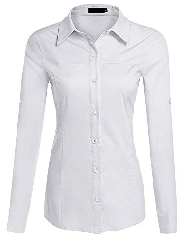 Hotouch Womens Roll Up 3/4 Sleeve Button Down Shirt with Stretch (White XL)