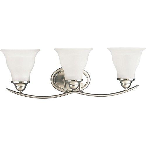 Trinity Three Light Vanity - Progress Lighting Trinity 3-Light 8.125-in Brushed nickel Bell Vanity Light
