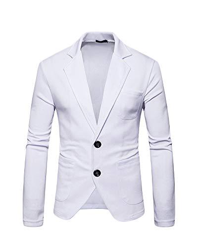 Lunga Risvolto Uomo Qitunc Blazer Manica Leisure Elegante Abbigliamento Bianco Fit Giacche Slim oBWQCerxd