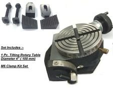 4'' (100 mm) Horizontal Vertical Tilting 0°- 90° Rotary Table- Milling, Tool +M6 Clamp kit
