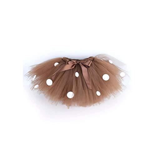 U-seeDeer Costume Brown Fluffy Tutu Skirt for Girls Baby Birthday Party Polka Dots Skirt Halloween Costume Dance School Tutus 0 12Y,Brown,24M