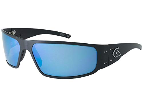 Gatorz Eyewear, Magnum 2.0 Asian Fit Model, Aluminum Frame Sunglasses - Black/Smoked Polarized Lens w/Blue Mirror Polarized Lens ()