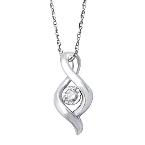 [0.08 Carat Solitaire Diamond Miracle Collection Pendant Necklace In 10k White Gold] (All White Party Outfit Ideas)