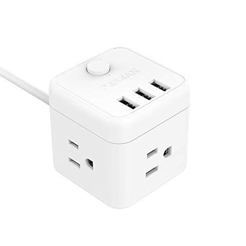 Cube Cruise Power Strip 3 Outlet 3 USB Ports, TESSAN Desktop Charging Station with Switch Control 5 Ft Extension Cord for Travel, Dorm Room - White
