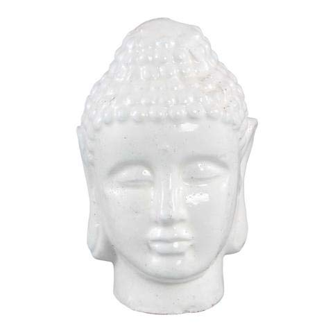 Head Statue Ceramic Buddha (White Buddha Head Ceramic Statue. Buddhist Head Meditation Yoga Relaxation Statue. Buddhist Indoor Tabletop Statue. Ceramic Buddha Outdoor Garden Statue.)