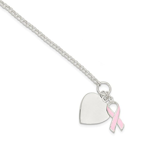 Bracelet Sterling Silver Awareness Ribbon (ICE CARATS 925 Sterling Silver Heart Pink Ribbon Bracelet Charm W/charm /love Awareness/inspirational Fine Jewelry Ideal Gifts For Women Gift Set From Heart)