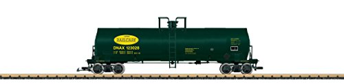 LGB G SCALE ACF TANK CAR – READY TO RUN — DANA RAILCARE DNAX #123028 (GREEN, YELLOW) 40872