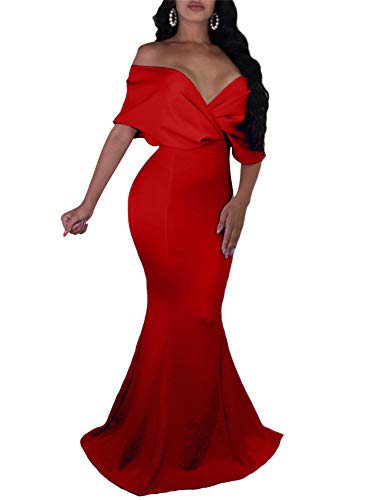 GOBLES Women Sexy V Neck Off The Shoulder Evening Gown Fishtail Maxi Dress Red