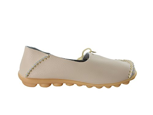Casual Moccasin Lace Up Century Beige Shoes Cowhide Flats Star Boat Women's Slip Loafer Driving On Slippers N BqwqFE1z4T