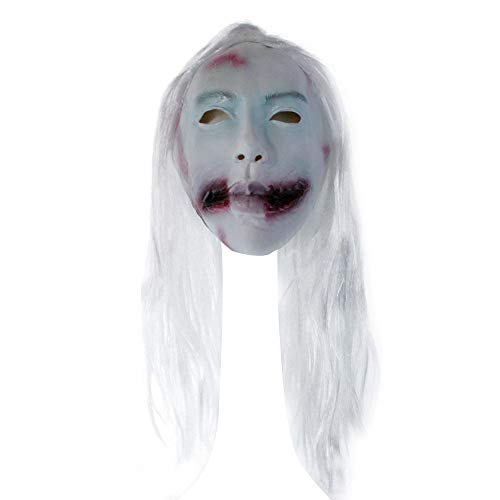 Blackcat White Hair Face Woman Female Ghost Devil Evil Costume Halloween Party Mask (White)]()