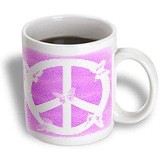 3dRose Pink Sand Peace Sign Butterflies Inspirational Art Ceramic Mug, ()