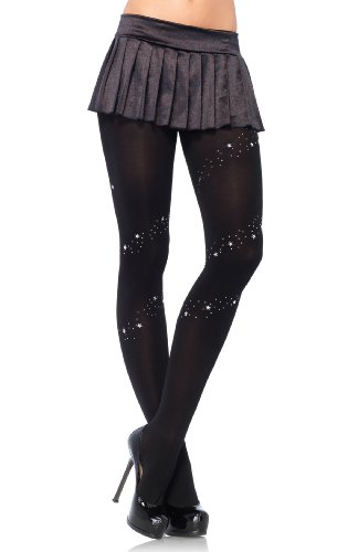 7898 (Black Silver Trim) Full Support Tights Wrap Around Design Stud & Stars