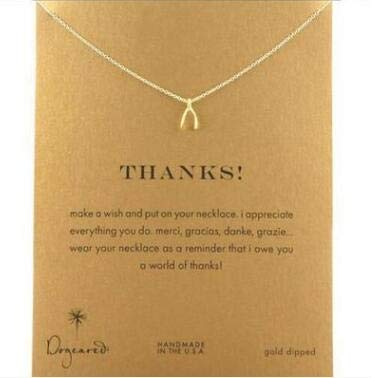 - Gimax Hot Sale Sparkling Wishbone Gold Colors Pendant Necklace Clavicle Chains Statement Necklace Women Jewelry(Has Card)
