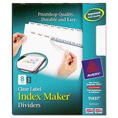 AVE11437 Index Maker, Laser, Punched, 8-Tabs, 5 ST/PK, 8-1/2x11,CL