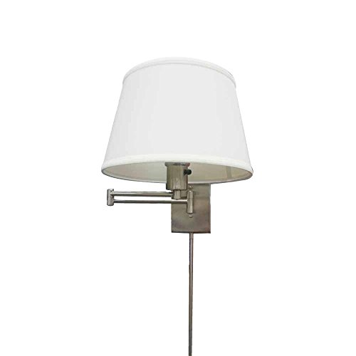 Hampton Bay HBP609-35 1-Light Brushed Nickel Swing Arm Sconce with Fabric Shade ()