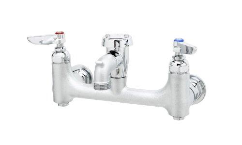 T&S Brass B-0674-CR-BSTR  Service Sink Faucet, 8-Inch Wall Mount, Ceramas, Vacuum Breaker, Built-In Stops, Rough Chrome
