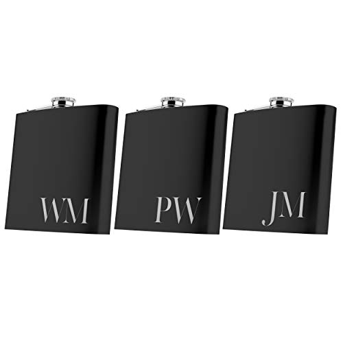 Set of 6, Set of 3, Single - Personalized Flask, Groomsmen Gift, Customized Groomsman Flasks, Wedding Favors, Matte Black, Design 2 -