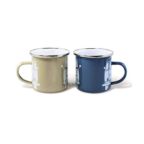 31UOqDZ%2B2tL BRISA VW Collection - Volkswagen T1 Bulli Bus Emaille-Kaffee-Tee-Tasse-Becher für Küche, Werkstatt, Büro, Outdoor…