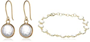 Bezel Stud Earrings and Bracelet Jewelry Set from Chateau D'Argent Inc