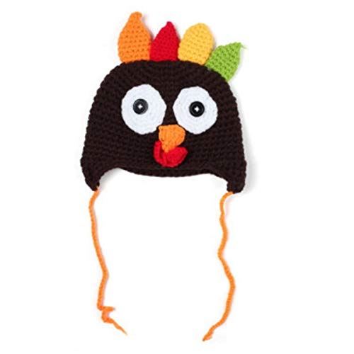 Baby & Toddlers Thanksgiving Turkey Beanie Hat Cap Cute Cartoon Animal Winter Knit Beanie with Ear Flap Photograph Props