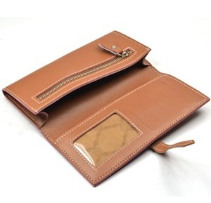 KLOUD City® Light Brown synthetic leather women wallet with a belt closure