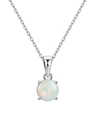 Mints Opal Pendant Necklace Sterling Silver 4 Prongs Setting Solitaire Fine Jewelry for Women ()