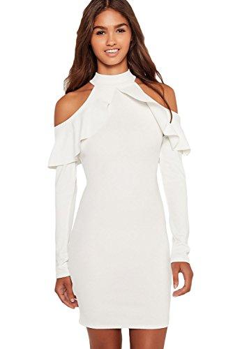 Damen Weiß Kalte Schulter Halskrause Midi Kleid Club Wear Party ...